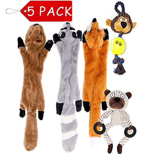 Chieflines 5 Pack Dog Squeaky No Stuffing Toys Three Stuffingless One Plush Stuffing One Rope for Aggressive Chewers for Puppy Small Medium Large Dogs Pets