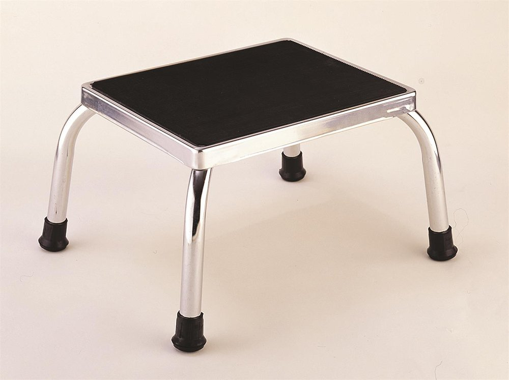 Chrome Metal Footstool with Non Slip Feet for Kitchen and Bathroom UK Care Direct
