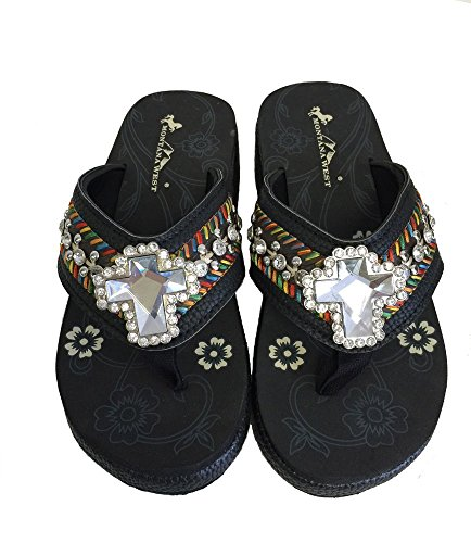 Montana Wedged Cross Crystal Flops Ladies Flip Embroidered Black Design West B1rBaqxw
