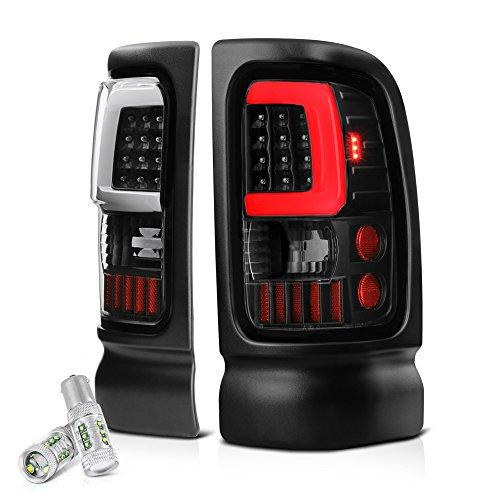 Dodge Neon Passengers Side Tail - VIPMOTOZ OLED Neon Tube Tail Light Lamp For 1994-2001 Dodge RAM 1500 2500 3500 - [CREE LED Reverse Bulbs] - Matte Black Housing, Driver and Passenger Side