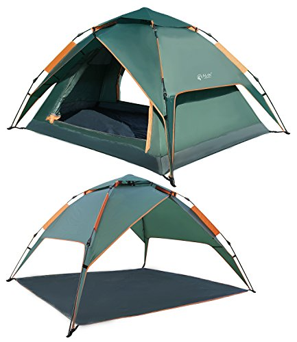 REDCAMP 2 3 Person Automatic Tent for Camping, Instant Waterproof Tent, 3 Season Two-function Camping Tents with Sun Shelter ,Amry green