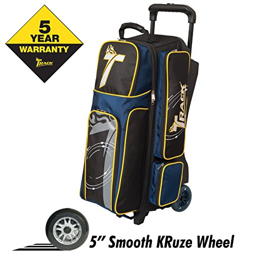 Track Bowling Premium Player Triple Ball Bowling Bag, Black/Navy/Yellow For Sale