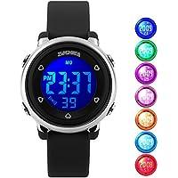 uswat Niños Reloj digital Deportes al aire última intervensión relojes Niño Niños Niñas Vestido LED Alarma Cronómetro Relojes Color Negro