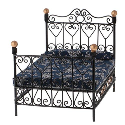 SODIAL 1: 12 Dollhouse Miniature meubles de chambre a coucher lit en metal avec matelas accessoire jouet noir