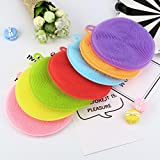 Miklan 7Pcs Set Of Silicone Dish Washing Sponge Scrubber Kitchen Cleaning Antibacterial Tool&Accessory
