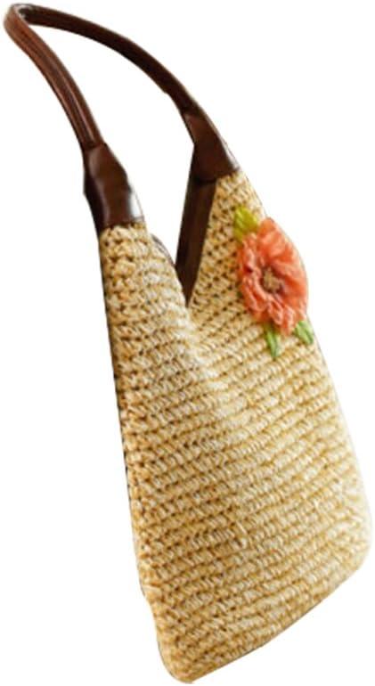 FAIRYSAN Sac /à main pour femme pour femme /à porter /à l/épaule Fleurs Cortex mobile Grande capacit/é Paquet de paille Paquet de rotin Fait /à la main Tissage Beige