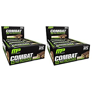 Combat Crunch Bars by MusclePharm - Low Carb, High Protein Muscle Building Supplement (12 Bars - 2 Pack) (Chocolate Chip Cookie Dough)