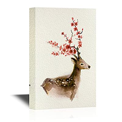 Canvas Wall Art - Watercolor Style Deer Series - Brown Deer - Gallery Wrap Modern Home Art | Ready to Hang - 12x18 inches
