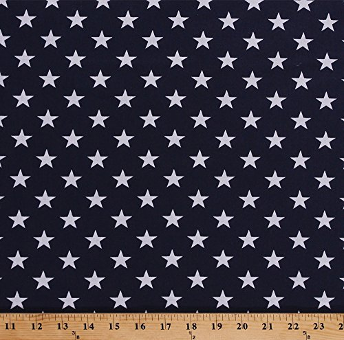 """108"""" Extra Wide Bunting White Stars on Dark Navy Blue Patriotic Cotton Quilt Back Backing Quilting Fabric by The Yard (D256.10)"""