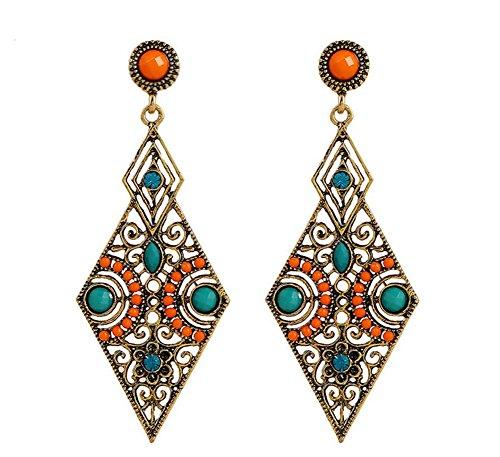 Rhinestone Filigree Settings (ZYZF Womens Bohemian Tribal Ethnic Egyptian Crystal Beads Vintage Handmade Rhinestone Chandelier Enamel Filigree Teardrop Metal Dangle Earrings)