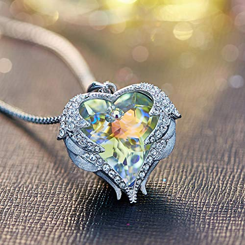 CDE Swarovski Necklaces Heart Crystal Jewelry Locket Pendant Silver Necklaces Women Birthstone Gifts by CDE (Image #3)