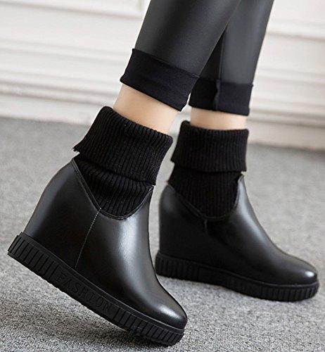 IDIFU Womens Sweet High Wedge Heels Inside Round Toe Pull On Mid Calf Martin Booties Black m82xj3xR