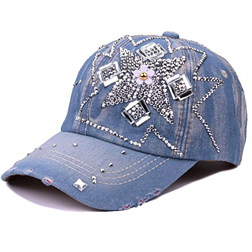 CRUOXIBB Women Cotton Cap Rhinestone Flower Fashion Baseball Hat (White Flower)
