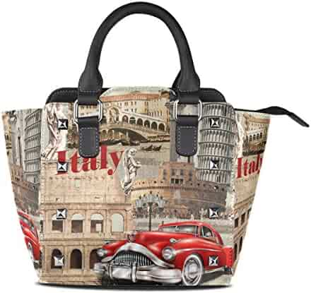 5c9de9964 Use4 Women's Retro Italy Leaning Tower of Pisa Rivet PU Leather Tote Bag  Shoulder Bag Purse