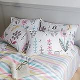 HIGHBUY 100% Cotton Floral Print Pillowcases Set of 2 Kids Queen Decorative Pillow Covers Set (2pcs, 20''×26''),Envelope Closure (Pillowcase, Floral)