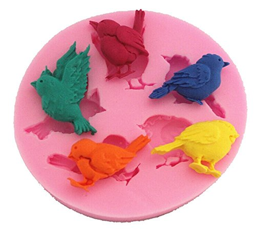 (Baifeng Candy Molds,5 Mini Birds Flying Birds Shape 3d DIY Silicone Mold Tray Cake Decorating Mold Chocolate Candy Making Mold Tools Clay Sculpture Shaping Mold Tools)