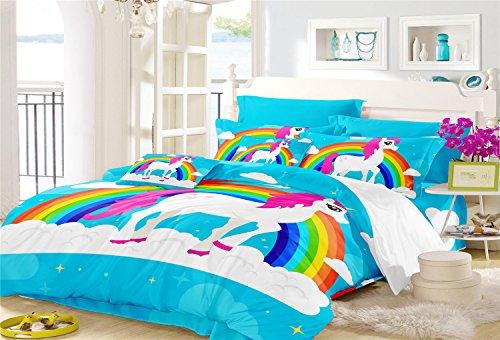 - Magical Rainbow Unicorn Duvet Cover Set-1 Queen Size Duvet Cover+2 Pillowcase-Best Unicorn Gifts for Girls