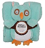 SILVER ONE Sherpa Plush Stuffed Animal and Throw Blanket 2 Peice Gift Set for Kids/Children | 50'' x 60'' Soft Plush Throw (Teal Owl, 50'' x 60'')