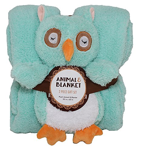 SILVER ONE Sherpa Plush Stuffed Animal and Throw Blanket 2 Peice Gift Set for Kids/Children | 50