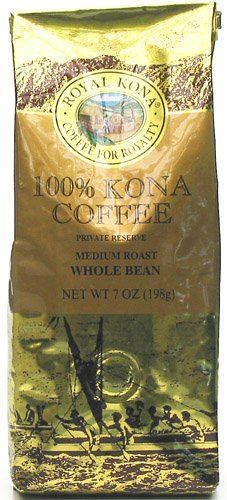 Royal Kona Coffee 100% Kona Coffee Private Reserve Whole Bean 7 oz Bag (Pack of 3) by Royal Kona