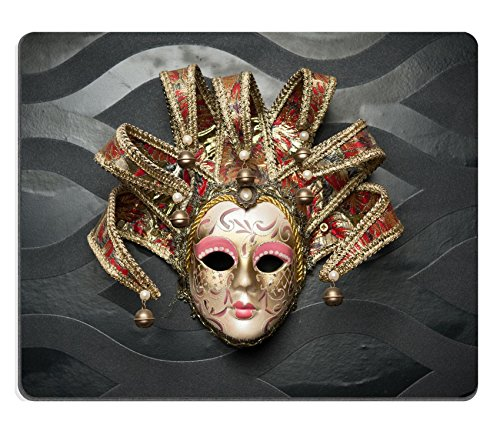 [MSD Natural Rubber Mousepad IMAGE ID: 27630256 Beautiful classical mask from Venice on black wall Carnival mask Venetian] (Drama Mask Costume)