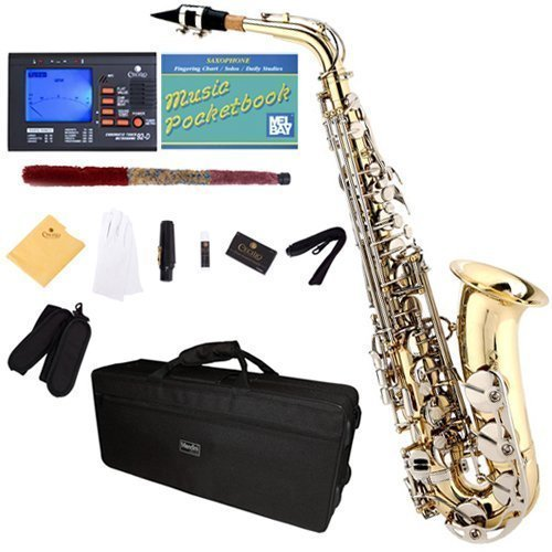 Mendini by Cecilio MAS-LN+92D+PB Gold Lacquer and Nickel Plated Keys E Flat Alto Saxophone with Tuner, Case, Mouthpiece, 10 Reeds and More