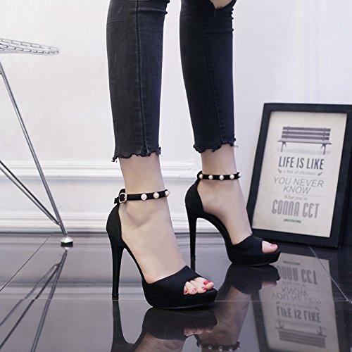 Super Talons Fine Boucle Couleur Mot Summer Chaussures unie Sandales Femme Un Pearl Hauts Talon Imperméables Taiwan SHOESHAOGE x8wqTF1Cq