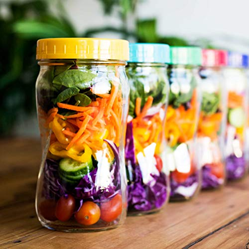 The Goods Mall [14 Pack] Color Plastic Mason Jar Lids - Fits BALL or KERR - 7 Wide Mouth & 7 Regular Mouth by The Goods Mall (Image #3)