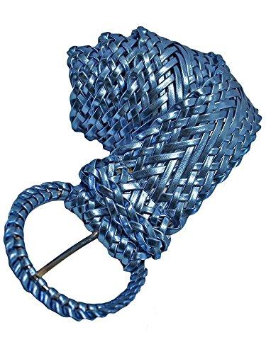 Metallic Braided Woven Belt - Blue Metallic Woven Braided Belt With Round Buckle Size X-Large