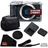 Canon EOS M6 Mirrorless Digital Camera (Body Only, Silver) 1725C001 Essential Bundle- International Version (No Warranty)