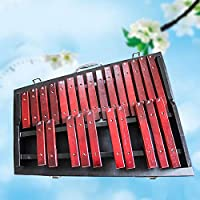 ARFYQ6 Instrument Sound Mahogany Xylophone Children Percussion Instrument 25-Tone Folding Aluminum Plate Piano Infant Early Childhood Teaching Aids(Red)