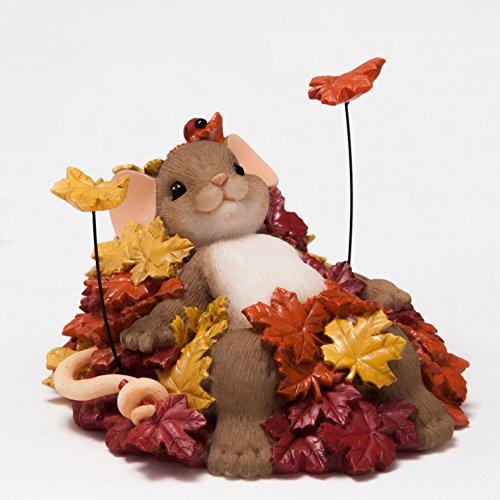 Enesco Halloween Charming Tails Pile of Leafs Figurine, 2.25-Inch