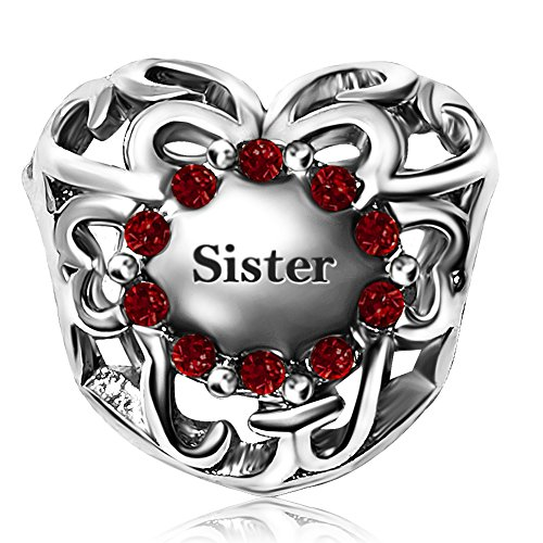 JMQJewelry Sister Heart Love Charm January Red Birthstone Christmas Charms Bead For Bracelets