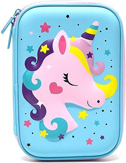 AMA-StarUK36 Estuche para lápices con diseño de unicornio, estuche creativo de goma EVA con cremallera para niños, niñas, adultos, oficina, escuela, artículos de papelería, color BL: Amazon.es: Oficina y papelería