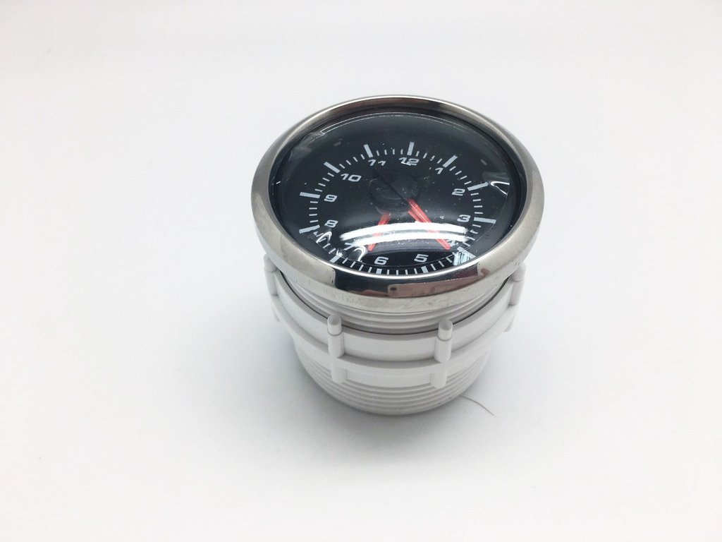 52mm Clock Time Car Auto Yacht Gauge Meter White LED//Clear Lens 12V Waterproof 1