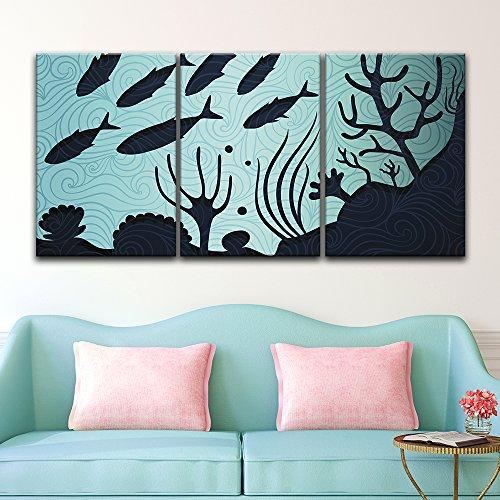 3 Panel Black Fish Pattern under the Sea x 3 Panels