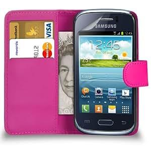 Mobi Plus Samsung Galaxy S6310 Joven Hot Pink Cartera de cuero del caso del tirón de la cubierta Pouch + 2 x Protector de pantalla y paño de pulido