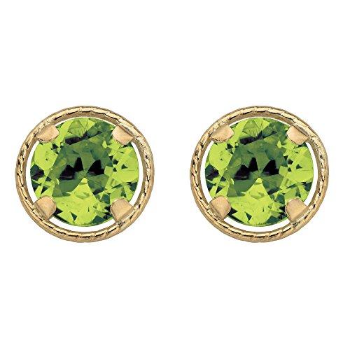 10k Yellow Gold Round Birthstone Halo Stud (Emerald Cut Peridot Post Earrings)