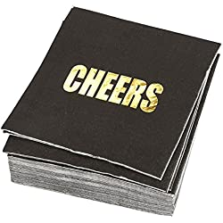 50 Pack Cocktail Napkins - Gold Foil CHEERS Disposable Paper Party Napkins, Perfect for Birthday and Bachelorette Party Supplies, Baby and Bridal Shower Decorations, 5 x 5 Inches Folded, Black