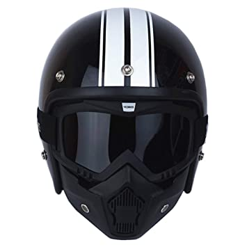 Qianliuk Máscara Desmontable Hombres 3/4 Vintage Moto Helmet Classic Gafas Scooter Protector Retro Cara Abierta Moto Cascos: Amazon.es: Deportes y aire ...