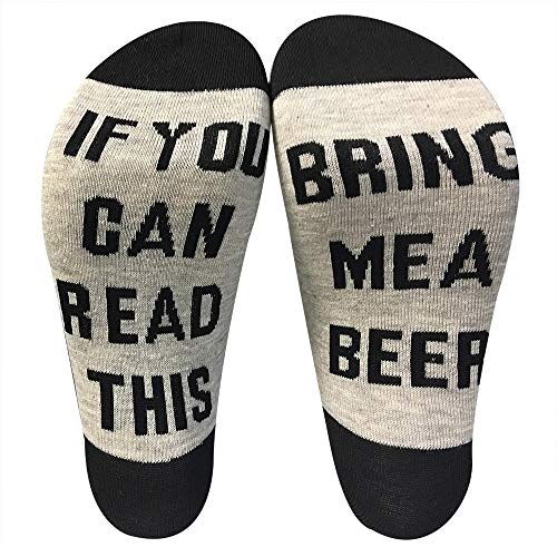 Novelty Socks Funny Gag Gift Idea for Beer wine Lovers,if you can read this socks for men women