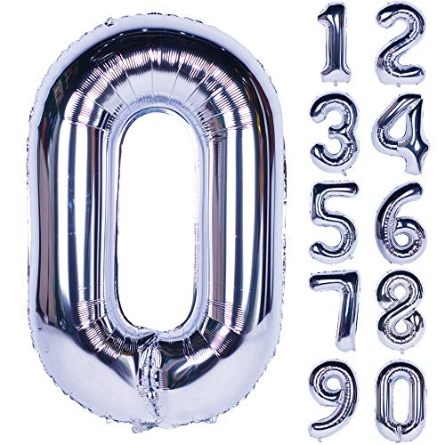 40 Inch Silver Numbers 0-9 Birthday Party Decorations Helium Foil Mylar Number Balloon Digital 0 ()