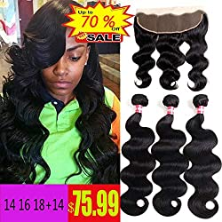 WENYU Brazilian Virgin Body Wave 3 Bundles with Frontal Closure100% Virgin Body Wave Human Hair Weave Weft Extensions with 13x4 Lace Frontal Natural Color(14 16 18+14Frontal)