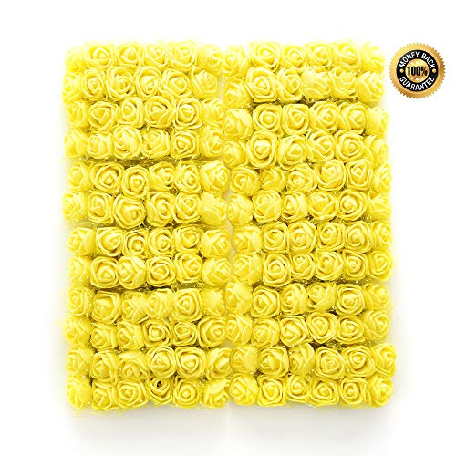 FLOWER 144pcs/pack 2cm Mini Foam Rose Artificial Bouquet Multicolor Rose Wedding Decoration Scrapbooking Fake Easter Gift (Yellow)
