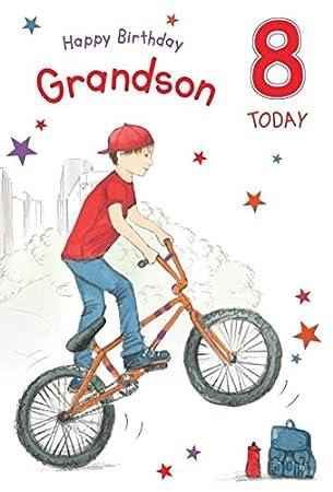Happy Birthday Grandson 8 Jahre Grossen Luxus Geburtstag Karte