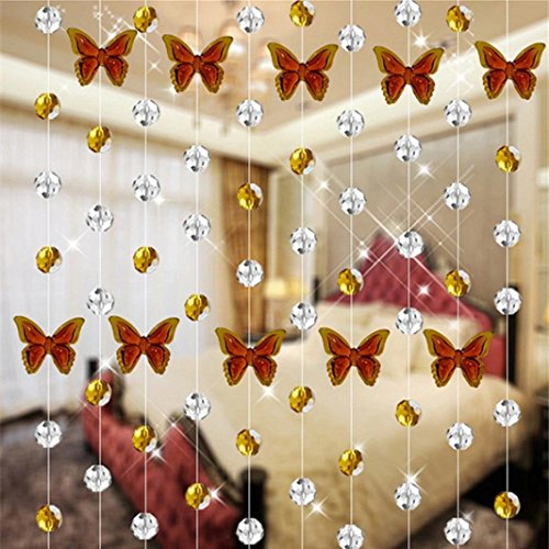 Oldeagle 1 Meter Butterfly Crystal Glass Bead Curtain Luxury Living Room Bedroom Window Door Wedding Home Decor (Brown)
