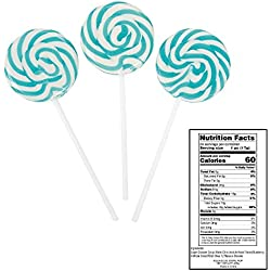 Aqua Blue Swirl Pops (24 Pcs) 14 Oz. Blueberry Flavor.