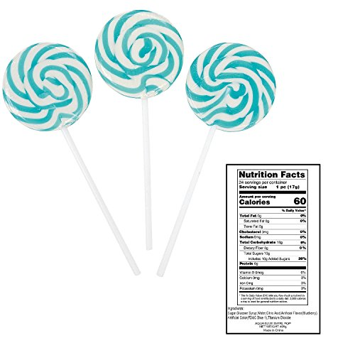 Aqua Blue Swirl Pops (24 Pcs) 14 Oz. Blueberry Flavor. (Lollipops Swirl Candy)