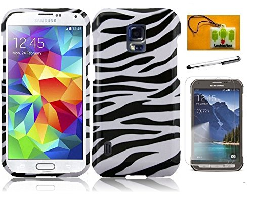 LF Zebra Designer Hard Case Cover, Stylus Pen, Screen Protector & Droid Wiper Compatible with AT&T Samsung Galaxy S5 Active G870 (Zebra) ()