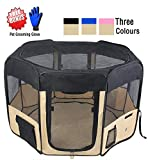 """ZuHucpts 61"""" Zipper Sealed Bottom Large Indoor/Outdoor Dog Pet Playpen, Portable Foldable Puppy Cat Excise Pen Kennel Tent , Soft Folding Crate Cage House Enclosure 
